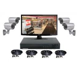 Pack vidéosurveillance extérieur 4 Caméras sur Pied