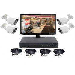 Kit vidéo surveillance 4 caméras sur pied IR 20-30m (800 lignes)