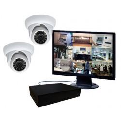 Pack vidéo surveillance 2 caméras IR mini dômes IP (1.3 Mp)