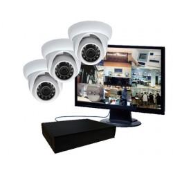 Pack vidéosurveillance IR - 3 caméras mini dômes IP