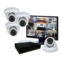 Kit vidéosurveillance - 4 caméras mini dômes étanches IR (1000 lignes)
