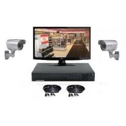 Kit vidéosurveillance extérieure - 2 caméras 1000 lignes ( IR 50m )