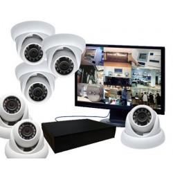 Kit vidéosurveillance - 6 caméras mini dômes IP IR (1.3 mp)