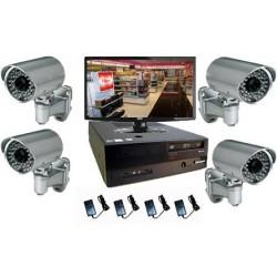 Pack vidéosurveillance - 4 caméras IP sur pied - IR à 20m