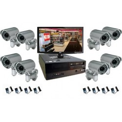 Pack vidéosurveillance - 8 caméras IP IR extérieures (1.3 Mp)